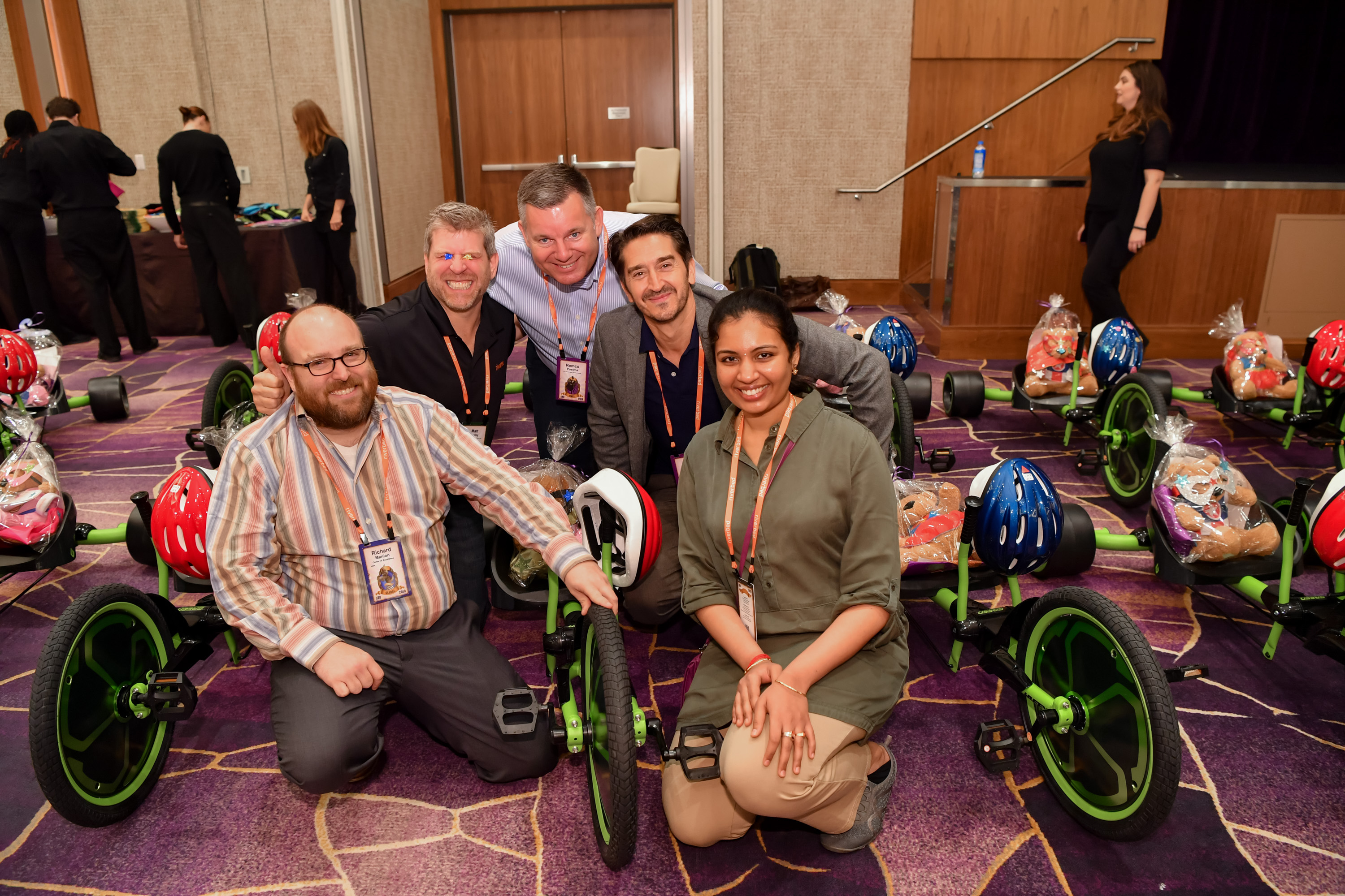 Event attendees built bikes and assembled bears for local community